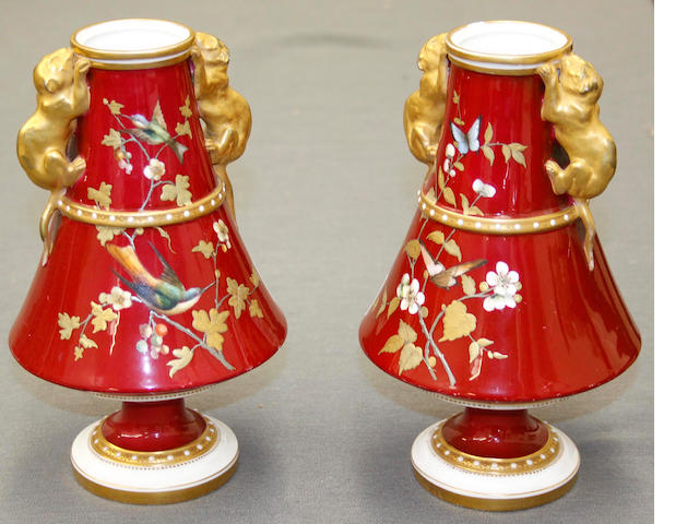A pair of Derby Crown Porcelain vases, late 19th century