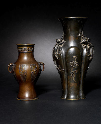 A bronze baluster vase Xuande six-character mark