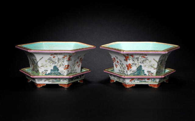 A pair of famille rose, hexagonal jardinieres and stands Shendetang marks