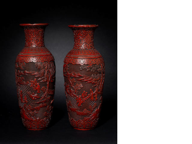 A pair of cinnabar lacquer vases, chipped, 19th century