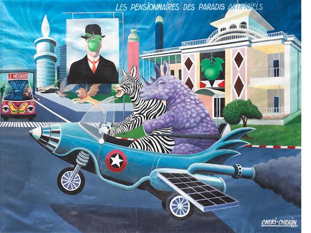 Cheri Cherin (Dem. Republic of the Congo, born 1955) 'Les Pensionnaires des Paradis Artificiels' unframed