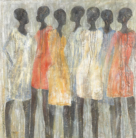 Uchay Joel Chima (Nigerian, born 1971) Girls in the hood unframed