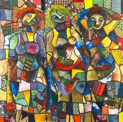 George Edozie (Nigerian, born 1972) 'Ofuchi, Onwadiam & Afuchi' unframed