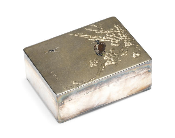 An inlaid silver box and cover By Setsumei/Yukiaki, made for the Maruyoshi Company, Meiji/Taisho Period