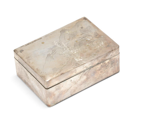 A silver rectangular box and cover By Bikyo, Meiji Period