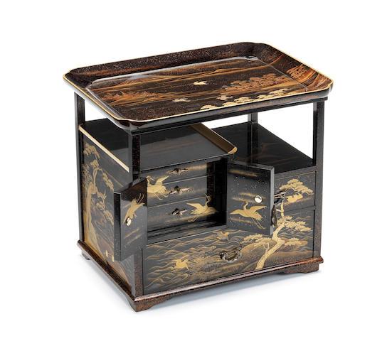 A black lacquer miniature hanagamidai (cosmetic cabinet) Meiji Period