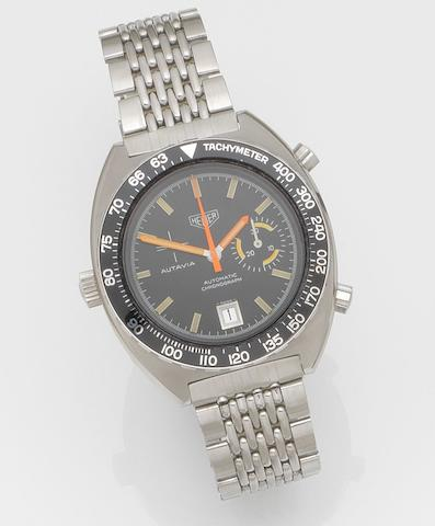 Heuer. A stainless steel automatic chronograph bracelet watch Autavia, Ref:15630 T, Case No.291632, Circa 1972