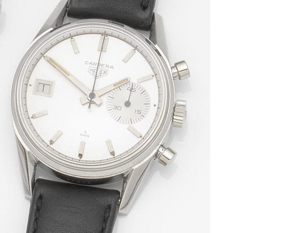 Heuer. A stainless steel manual wind chronograph wristwatch Carrera Dato, Ref:3147 S, Case No.99628, Circa 1968
