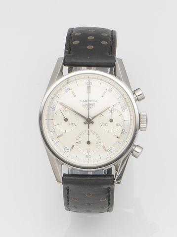 Heuer. A stainless steel manual wind chronograph wristwatch  Carrera, Ref:2447 D, Case No.56420, Circa 1964