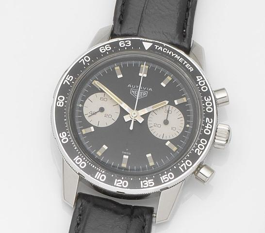 Heuer. A stainless steel manual wind chronograph wristwatch Autavia, Ref:7763 T, Case No.132742, Circa 1968