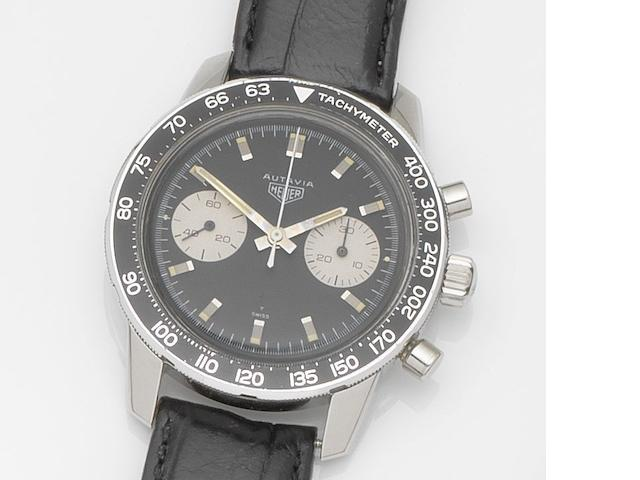 Heuer. A stainless steel manual wind chronograph wristwatch Autavia, Ref:7763 T, Case No.89595, Circa 1968