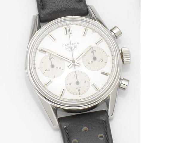 Heuer. A stainless steel manual wind chronograph wristwatch Carrera, Ref:2447 S, Case No.102468, Circa 1965