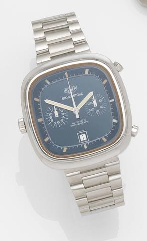 Heuer. A stainless steel automatic chronograph bracelet watch Silverstone, Ref:110313 B, Case No.309216, Circa 1974
