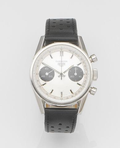 Heuer. A stainless steel manual wind chronograph wristwatch Carrera, Ref:7753 T, Case No.107205, Circa 1970