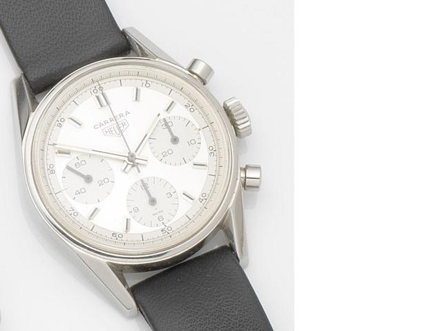Heuer. A stainless steel manual wind chronograph wristwatch Carrera, Ref:2447 D, Case No.104822, Circa 1970