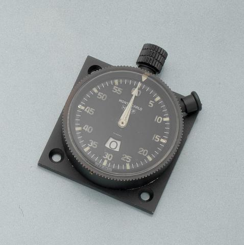 Heuer. A black finished military issue dashboard stopwatch Monte Carlo, Ref:6B/5209604, Case No.3998, Circa 1968