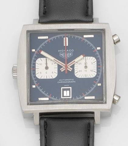 Heuer. A stainless steel automatic chronograph wristwatch Monaco 'Steve McQueen', Ref:1133 B, Case No.161834, Circa 1970
