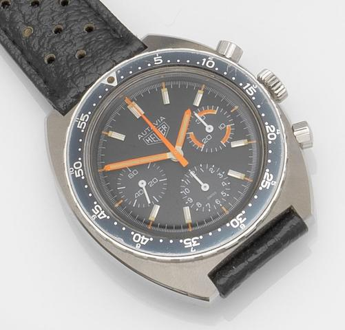 Heuer. A stainless steel manual wind chronograph wristwatch Autavia, Ref:73663 MH, Case No.201040, Circa 1972