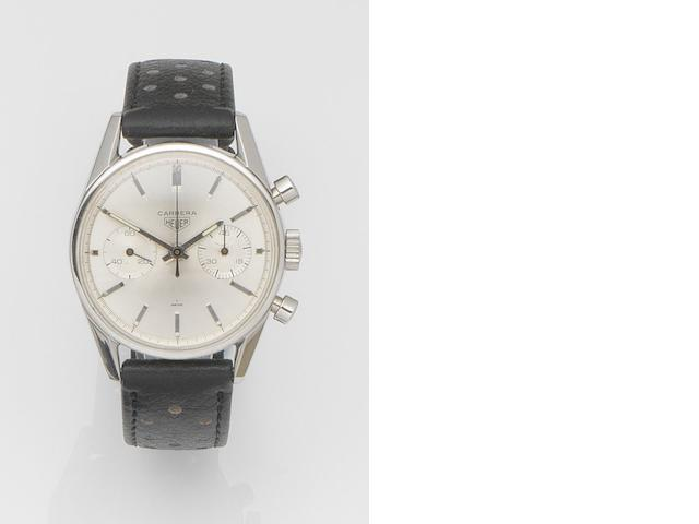 Heuer. A stainless steel manual wind chronograph wristwatch Carrera, Ref:3647 S, Case No.68027, Circa 1966