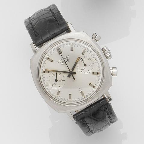 Heuer. A stainless steel manual wind chronograph wristwatch Camaro, Ref:7743, Case No.168779, Circa 1970