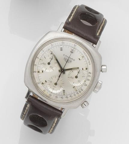Heuer. A stainless steel manual wind chronograph wristwatch Camaro, Ref:7220 T, Case No.97628, Circa 1968
