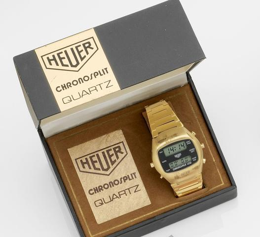Heuer. A gold plated quartz digital chronograph bracelet watch Chronosplit, Ref:102.705, Case No.354707, Circa 1978