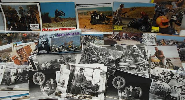 A quantity of motorcycle related film posters and memorabilia,