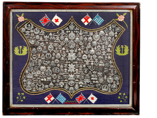 Victorian & Edwardian British and Colonial Badges, a Collection Assembled and Framed c1913