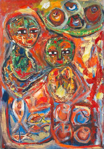 Mathias Tusiime (Ugandan) Red abstact with two figures in green