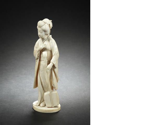 An ivory figure of a Bijin By (*), Meiji Period
