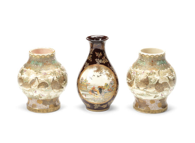 Three Satsuma vases The first painted by Sozan for Kinkozan, all Meiji Period