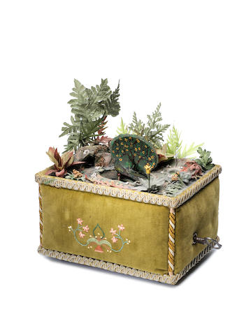 An unusual singing bird and running rat automaton box, circa 1920 and later,