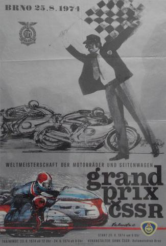 A 1974 Czechoslovakian Grand Prix motorcycle race poster,