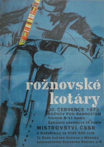 A 1972 Czechoslovakian 'Roznovske Kotary' Moto-Cross Championship race poster,
