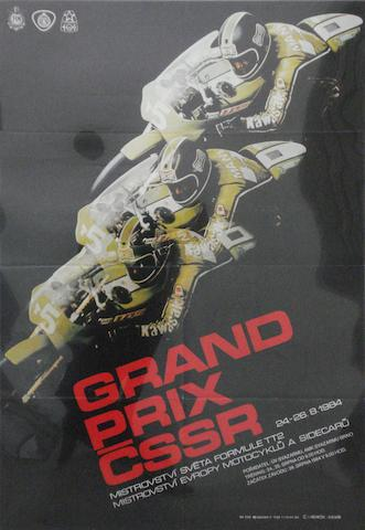 A 1984 Czechoslovakian Grand Prix motorcycle race poster,