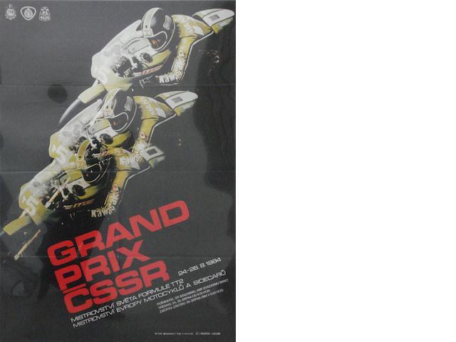 A 1984 Czechoslovakian Grand Prix motorcycle race poster,