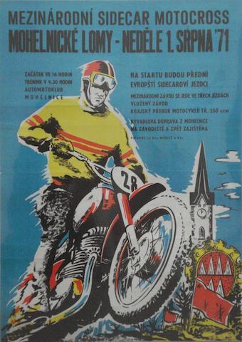 A 1971 Czechoslovakian Motocross race poster,