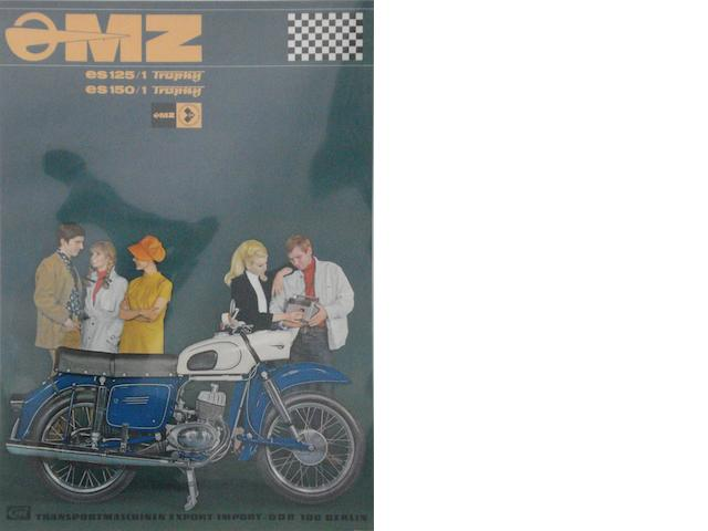 A German MZ Motorcycles advertising poster,