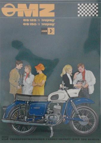 A German MZ Motorcycles advertising poster,