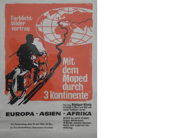 A 1962 German 'Europa-Asien-Afrika' moped rally poster,