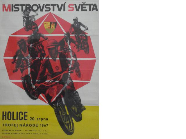 A 1967 Czechoslovakian World Championship motocross poster,