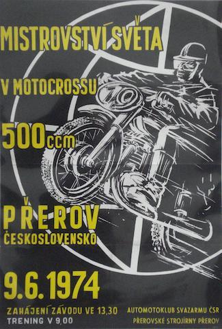 A 1974 Czechoslovakian Motocross World Championship race poster,