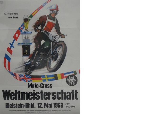 A 1963 'ADAC Weltmeisterschaft Moto-Cross' international race poster,