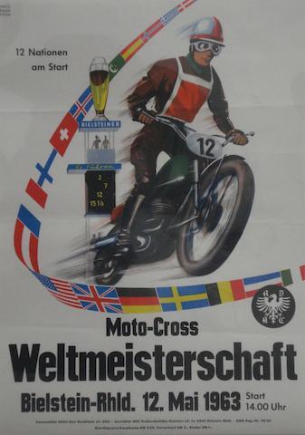 A 1963 'ADAC Weltmeisterschaft Moto-Cross' international race poster,