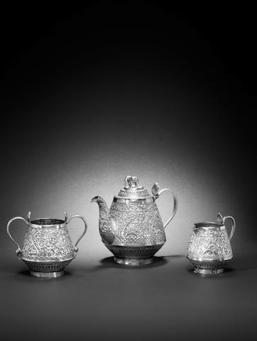 A three piece Indian tea service