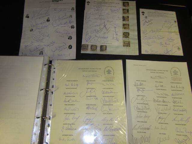 A large collection of 1960's to 1990's hand signed cricket team sheets