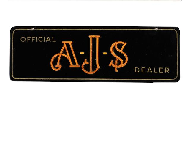 An 'Official AJS Dealer' Perspex sign,