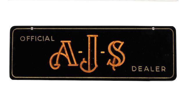 An 'Official AJS Dealer' Perspex sign,