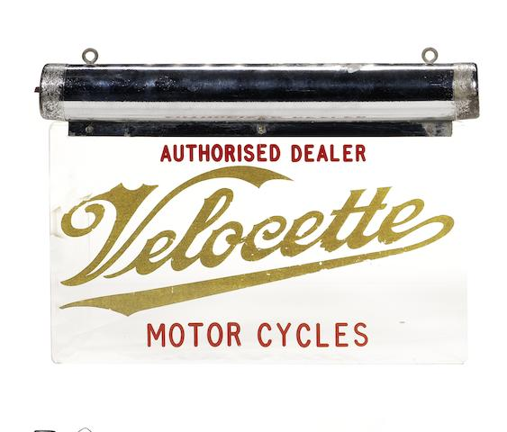 A 'Velocette Motor Cycles Authorised Dealer' illuminating Perspex sign,