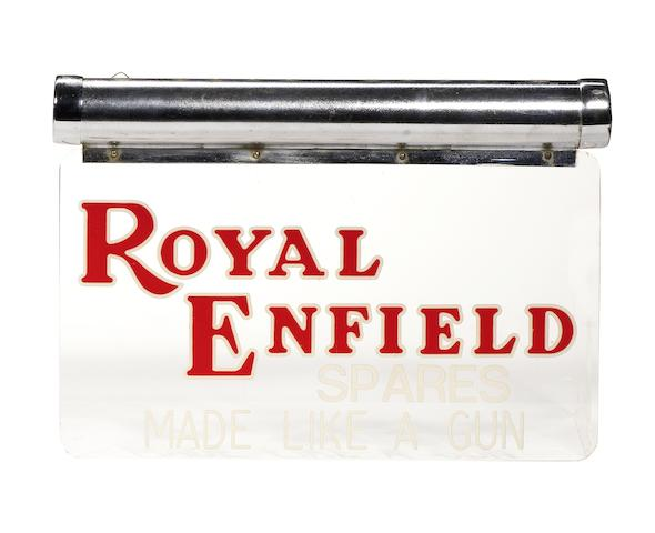 A 'Royal Enfield Spares - Made Like A Gun' illuminating Perspex  sign,